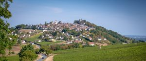 Chateau de Sancerre - View on the village of Sancerre an its vineyards